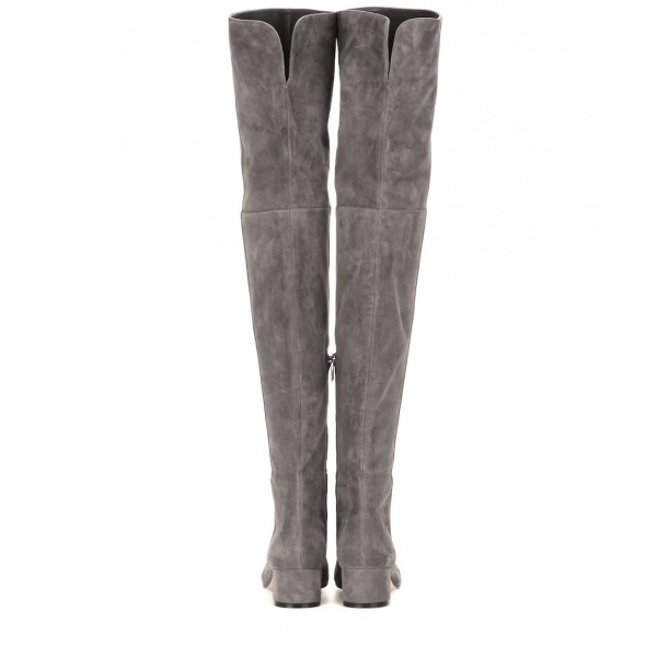 Grey Low Heel Suede Boots Fashion Thigh High Long Boots image 2