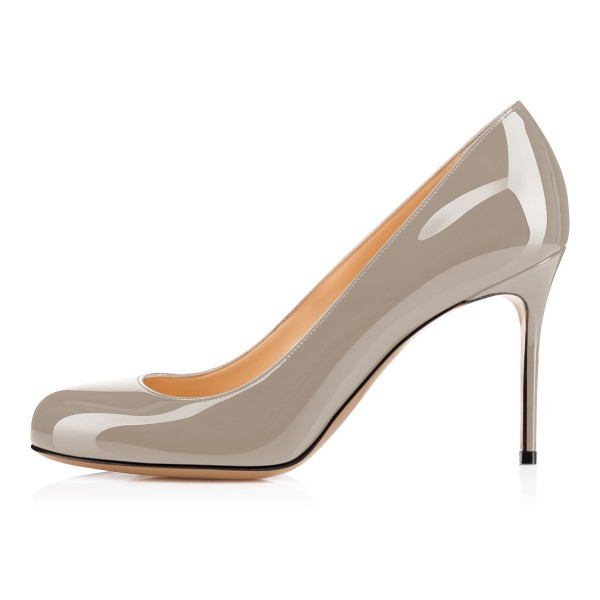 Grey Office Heels Round Toe Patent Leather Stiletto Heel Pumps image 4
