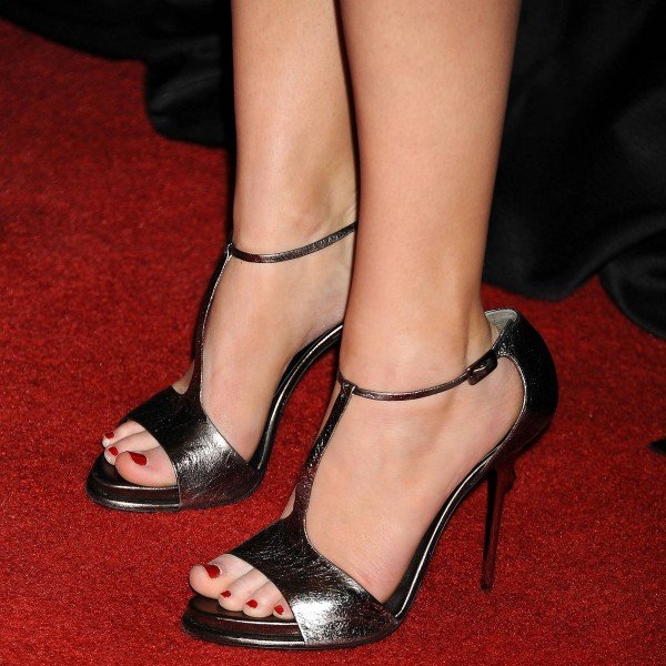 Grey Open Toe T Strap Sandals Formal Event Stiletto Heels Shoes  image 1