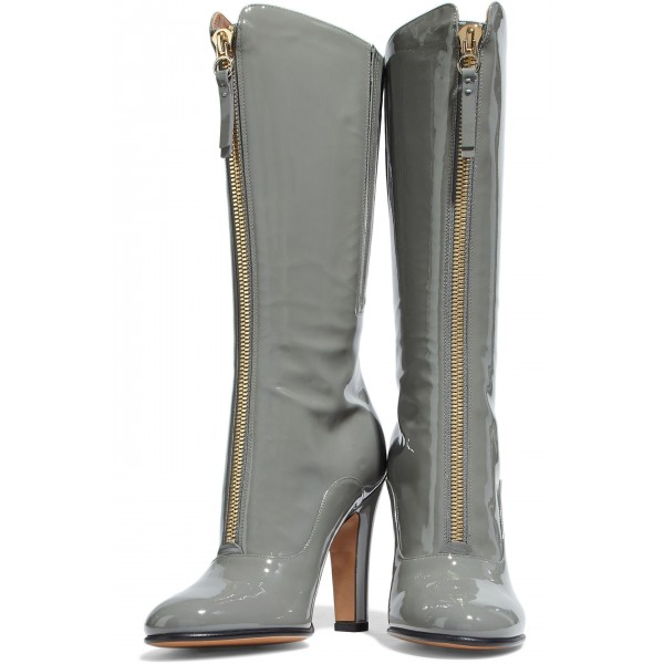 Grey Patent Leather Zip Chunky Heel Boots Knee High Boots image 1