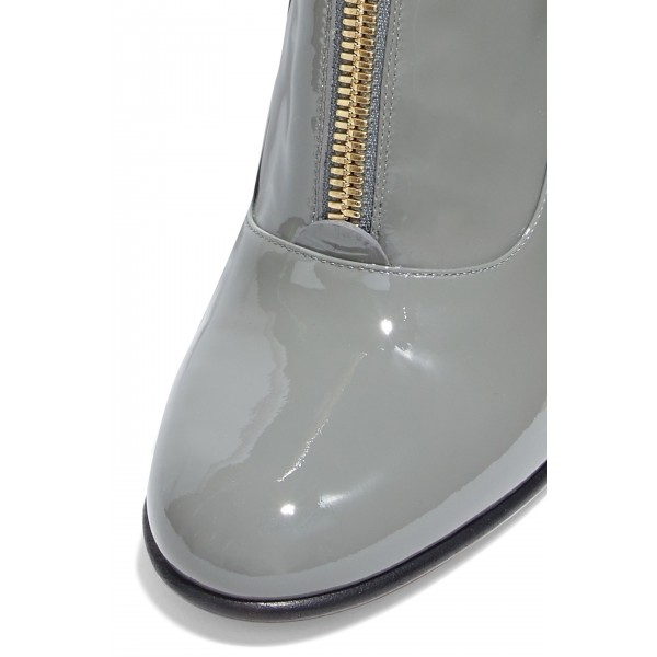 Grey Patent Leather Zip Chunky Heel Boots Knee High Boots image 3