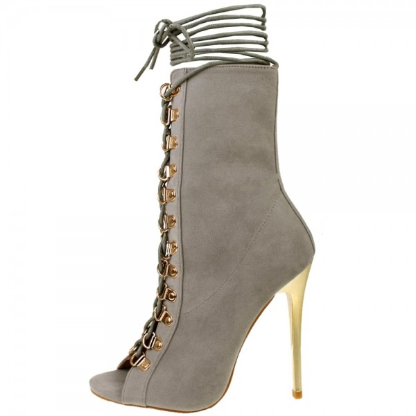 Grey Peep Toe Booties Stiletto Heels Lace up Ankle Boots image 1