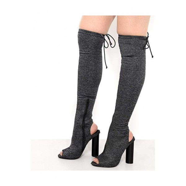 Grey Peep Toe Chunky Heel Boots Over-the-knee Boots  image 1