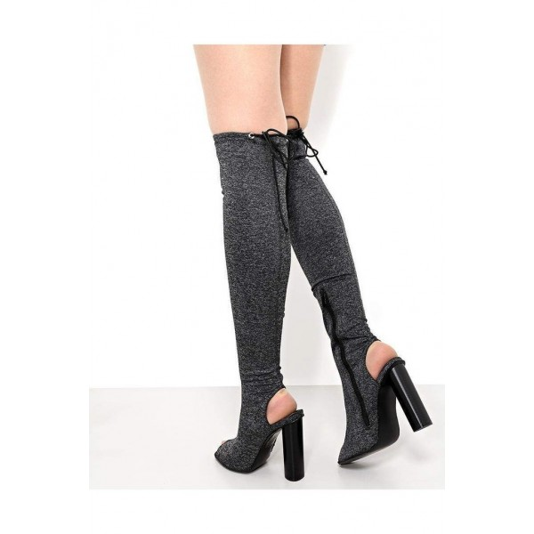 Grey Peep Toe Chunky Heel Boots Over-the-knee Boots  image 3
