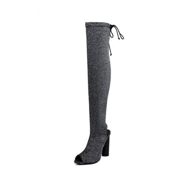 Grey Peep Toe Chunky Heel Boots Over-the-knee Boots image 2