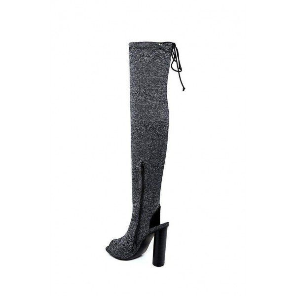 Grey Peep Toe Chunky Heel Boots Over-the-knee Boots image 4