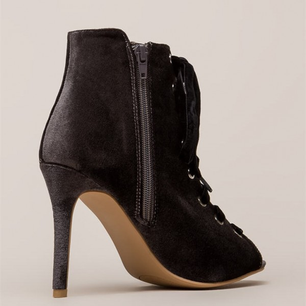 Grey Peep Toe Lace up Stiletto Heels Ankle Booties image 2