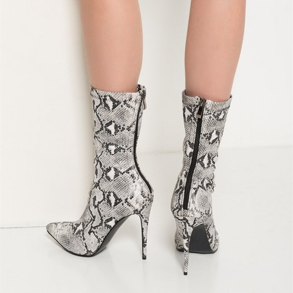 Grey Python Fashion Boots Pointy Toe Stiletto Heels Zip Ankle Boots  image 3