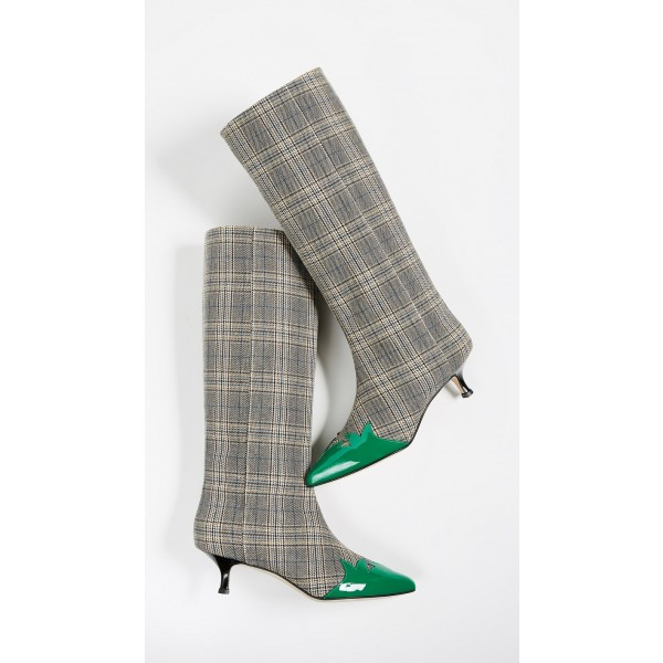 274303a8ef ... 1; Grey Plaid Fabric Kitten Heel Boots Green Pointy Toe Mid Calf Boots  image 2 ...