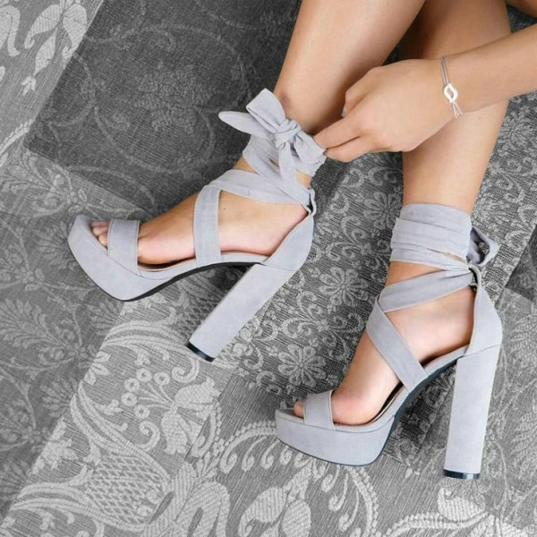 Grey Platform Chunky Heel Ankle Strap Strappy Sandals image 1