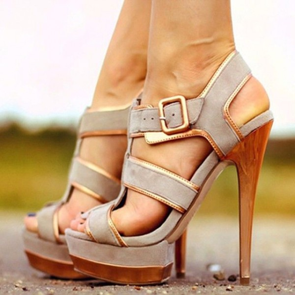 Grey Platform Sandals Suede Open Toe T Strap High Heel Sandals image 1