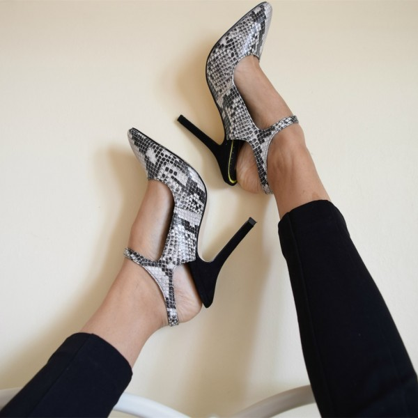 Grey Python Slingback Pumps Pointy Toe Trendy Stiletto Heels image 1
