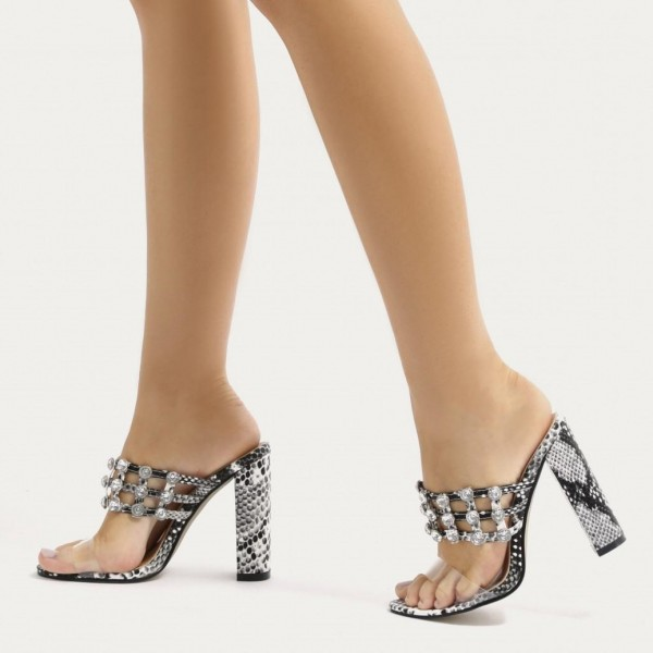 eb9a9745fa Grey Python and Clear Mule Heels Open Toe Rhinestone Chunky Heels image 1  ...