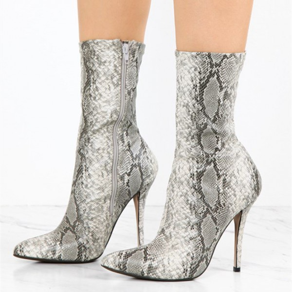 Grey Snakeskin Booties Pointy Toe Stiletto Heel Sock Boots image 1
