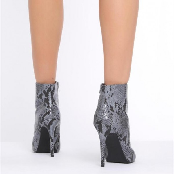 1a96bbd569f67 ... Grey Snakeskin Booties Stiletto Heel Pointy Toe Fashion Ankle Boots  image 2 ...