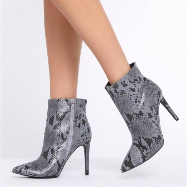 c06948979bdc1 Grey Snakeskin Booties Stiletto Heel Pointy Toe Fashion Ankle Boots image 1  ...