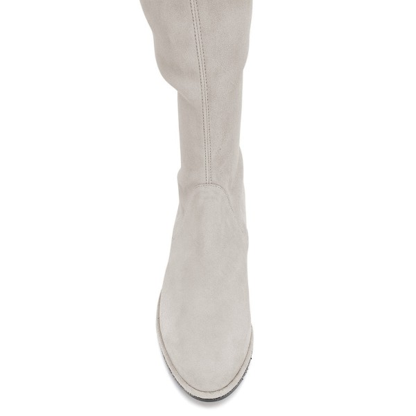 Grey Round Toe Chunky Heels Long Boots Suede Over-the-knee Boots image 3