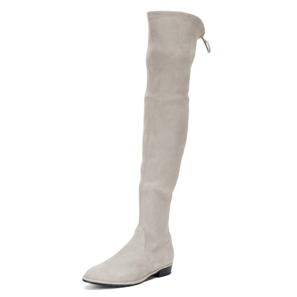 Grey Round Toe Chunky Heels Long Boots Suede Over-the-knee Boots image 1