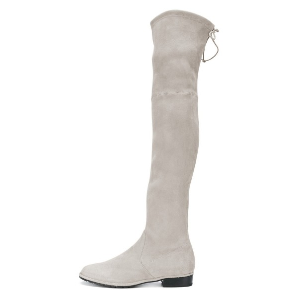 Grey Round Toe Chunky Heels Long Boots Suede Over-the-knee Boots image 2
