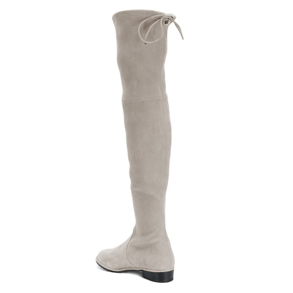 Grey Round Toe Chunky Heels Long Boots Suede Over-the-knee Boots image 4