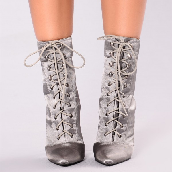 Women's Grey Satin Lace up Boots Ankle Stiletto Boots Slingback Shoes image 3