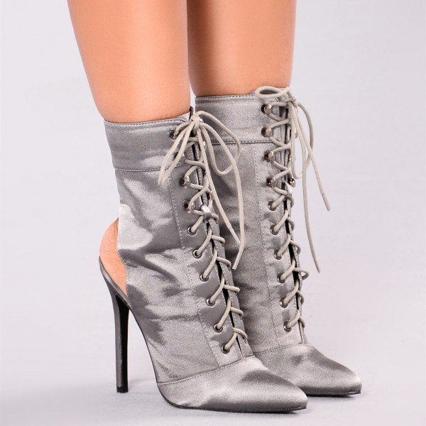 Women's Grey Satin Lace up Boots Ankle Stiletto Boots Slingback Shoes image 4