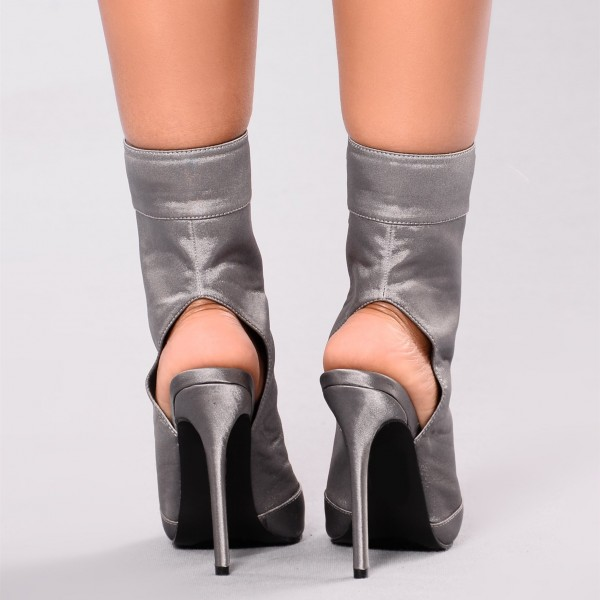 Women's Grey Satin Lace up Boots Ankle Stiletto Boots Slingback Shoes image 2