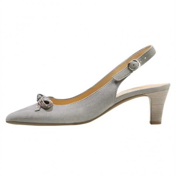 Grey Slingback Heels Pointy Toe Cone Heel Pumps with Bow image 2