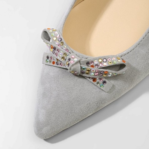 Grey Slingback Heels Pointy Toe Cone Heel Pumps with Bow image 3