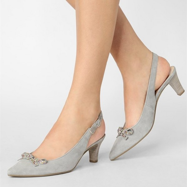 Grey Slingback Heels Pointy Toe Cone Heel Pumps with Bow image 1