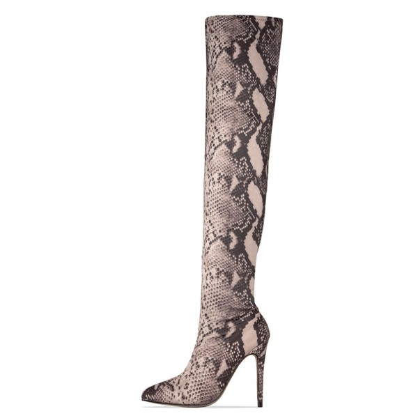 Grey Snakeskin Boots Pointed Toe Stiletto Heel Thigh High Boots image 1