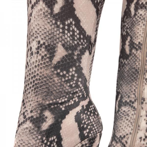 Grey Snakeskin Boots Pointed Toe Stiletto Heel Thigh High Boots image 2