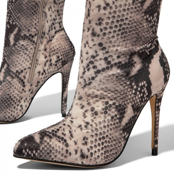 Grey Snakeskin Boots Pointed Toe Stiletto Heel Thigh High Boots image 3