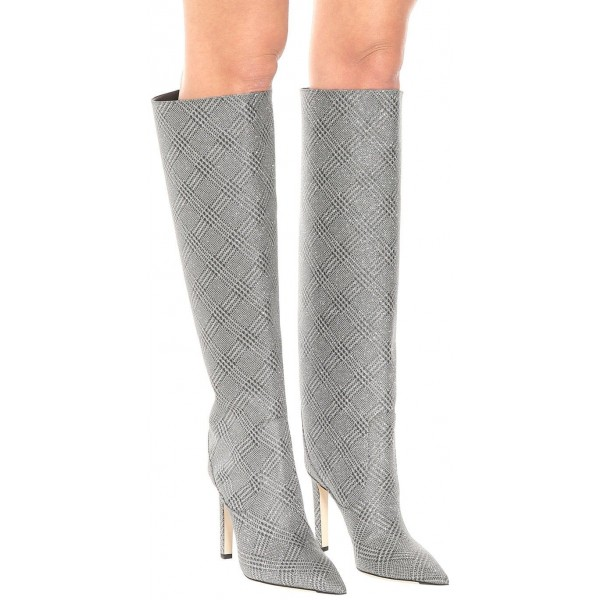 Grey Plaid Straight Stiletto Boots Knee High Boots image 5
