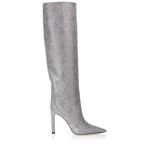 Grey Plaid Straight Stiletto Boots Knee High Boots image 3