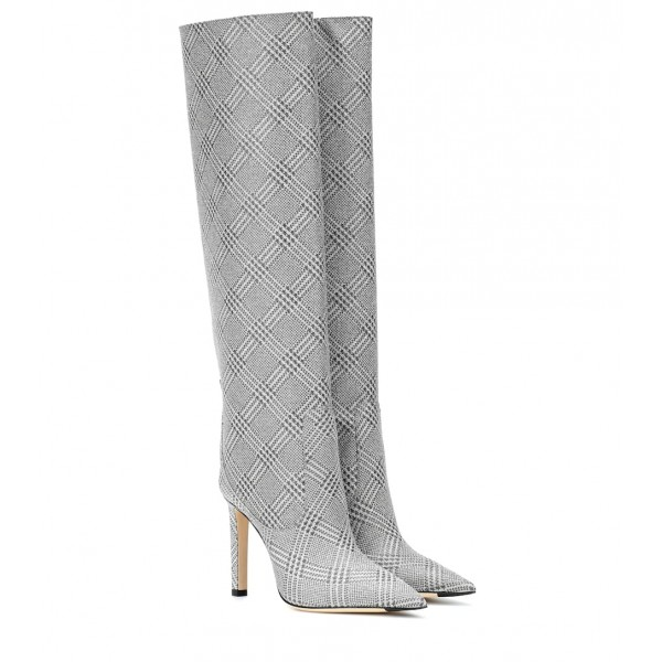 Grey Plaid Straight Stiletto Boots Knee High Boots image 2