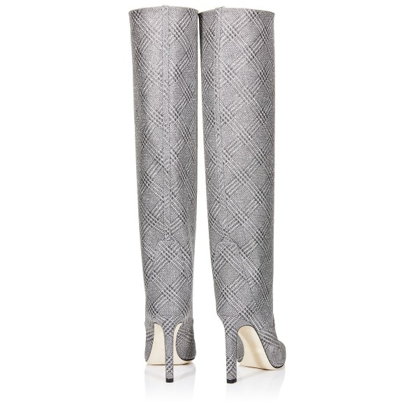 Grey Plaid Straight Stiletto Boots Knee High Boots image 4