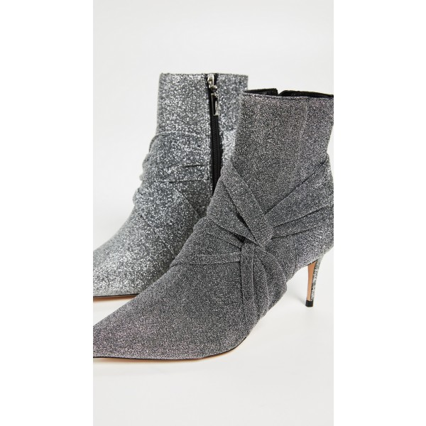 Grey Sparkly Pointy Toe Stiletto Boots Fashion Ankle Booties with Zip image 4