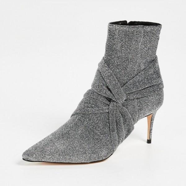 Grey Sparkly Pointy Toe Stiletto Boots Fashion Ankle Booties with Zip image 2