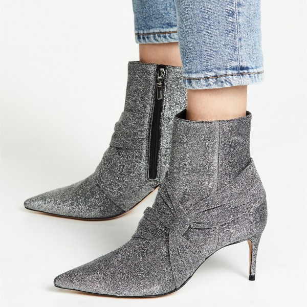 Grey Sparkly Pointy Toe Stiletto Boots Fashion Ankle Booties with Zip image 1