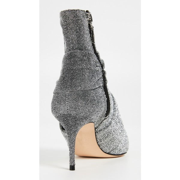 Grey Sparkly Pointy Toe Stiletto Boots Fashion Ankle Booties with Zip image 5