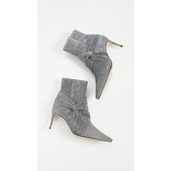Grey Sparkly Pointy Toe Stiletto Boots Fashion Ankle Booties with Zip image 3