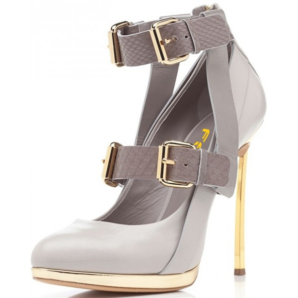Women's Light Grey Ankle Strap Golden Stiletto Pumps Heels Shoes image 1