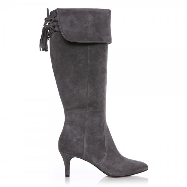 Dark Grey Kitten Heel Boots Foldover Back Laced Suede Knee Boots image 2