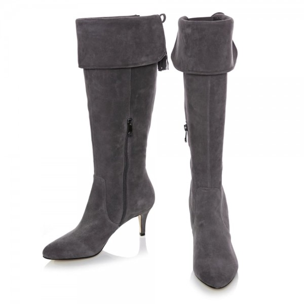 Dark Grey Kitten Heel Boots Foldover Back Laced Suede Knee Boots image 3