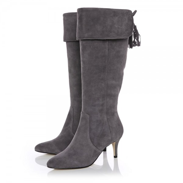 Dark Grey Kitten Heel Boots Foldover Back Laced Suede Knee Boots image 1