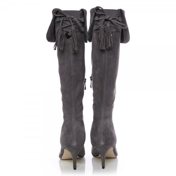 Dark Grey Kitten Heel Boots Foldover Back Laced Suede Knee Boots image 5
