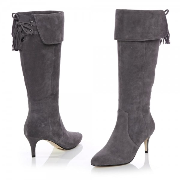 Dark Grey Kitten Heel Boots Foldover Back Laced Suede Knee Boots image 4