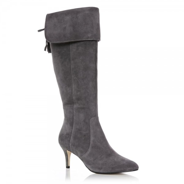 Dark Grey Kitten Heel Boots Foldover Back Laced Suede Knee Boots image 6