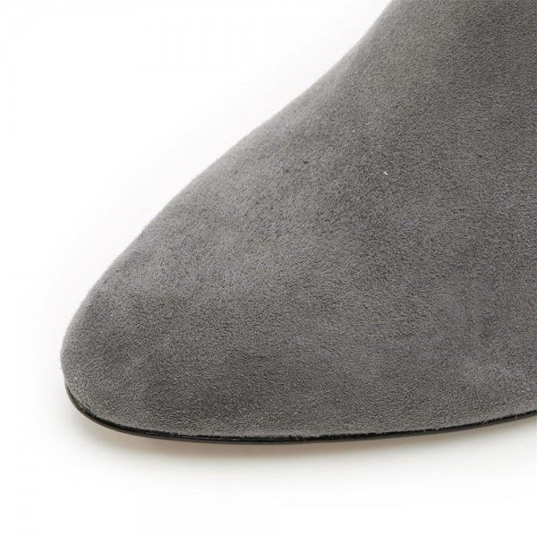 Dark Grey Kitten Heel Boots Foldover Back Laced Suede Knee Boots image 7